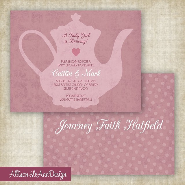 """A Baby Girl is Brewing"" baby shower invitation for Journey Faith! #AllisonLeAnnDesign #JourneyFaith #TeaPot #GirlBabyShower"