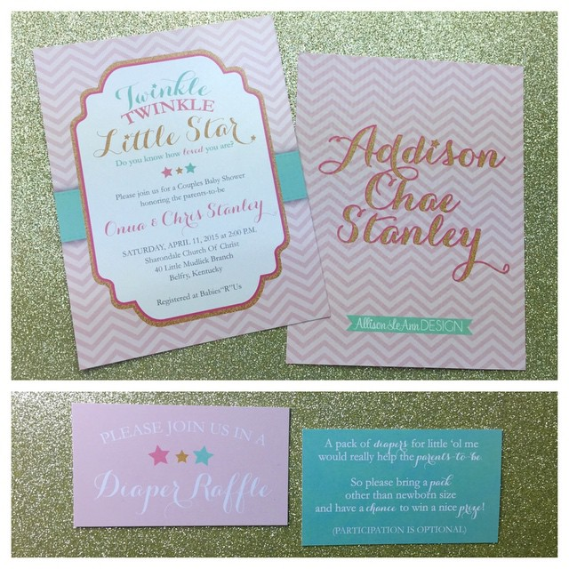 "Custom ""Twinkle Twinkle Little Star"" baby shower invites for a past ALD Bride!"