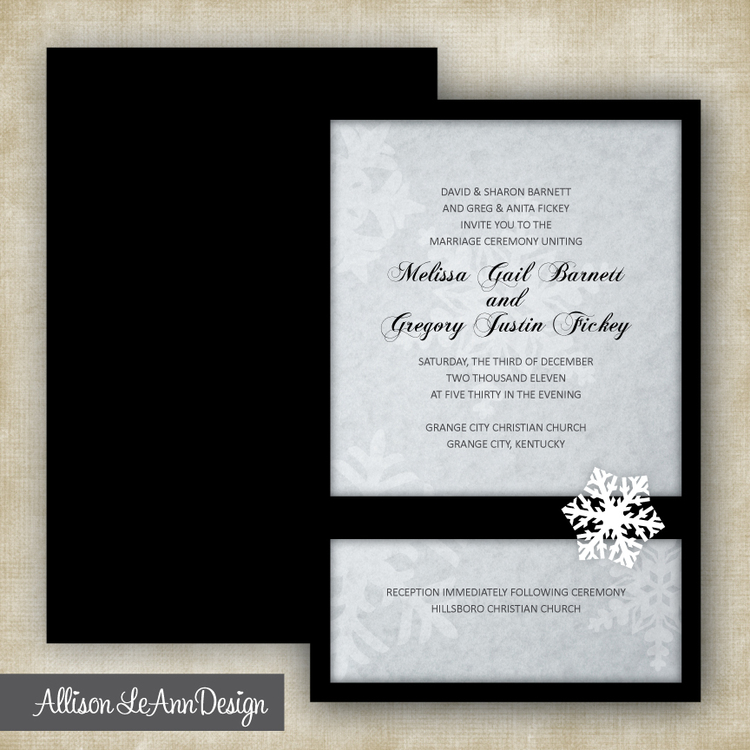Snowflake Winter Wedding Invitation Black White Silver