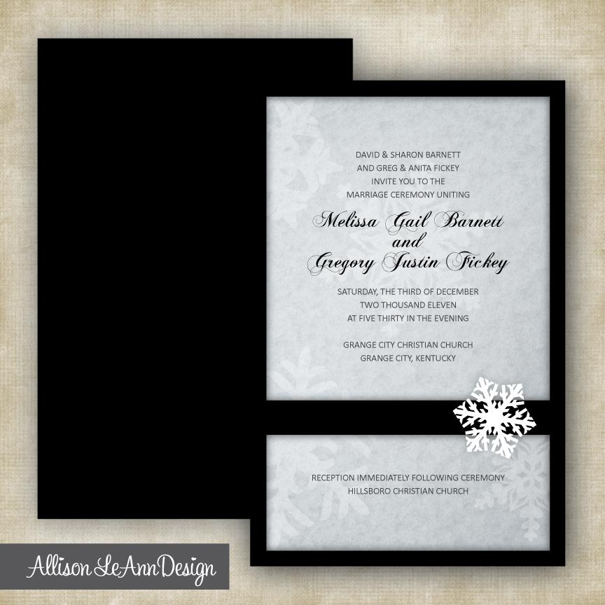 snowflake winter wedding invitation black white silver