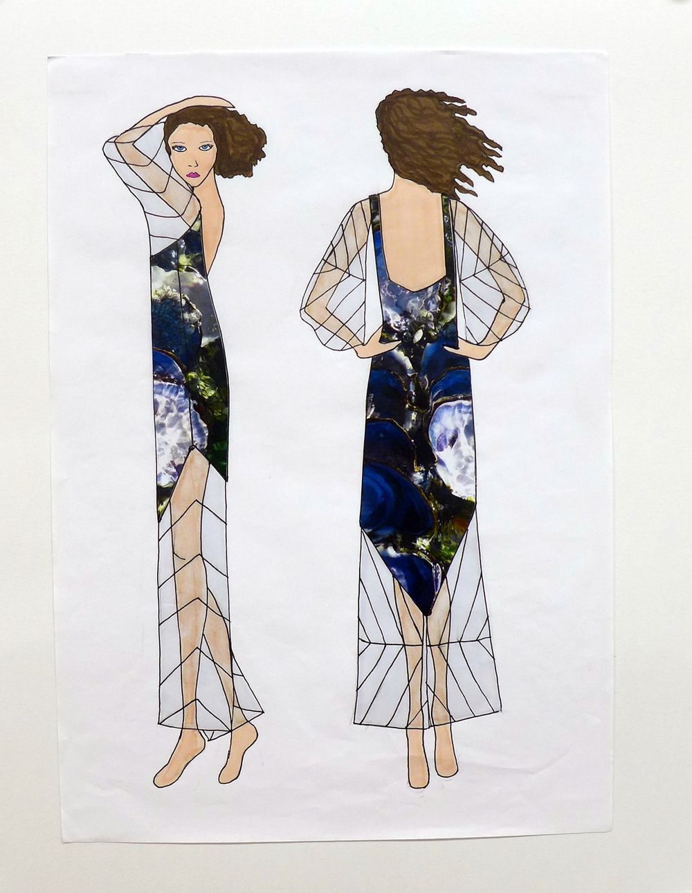 Varnish Clam Jumpsuit side and back Illustration