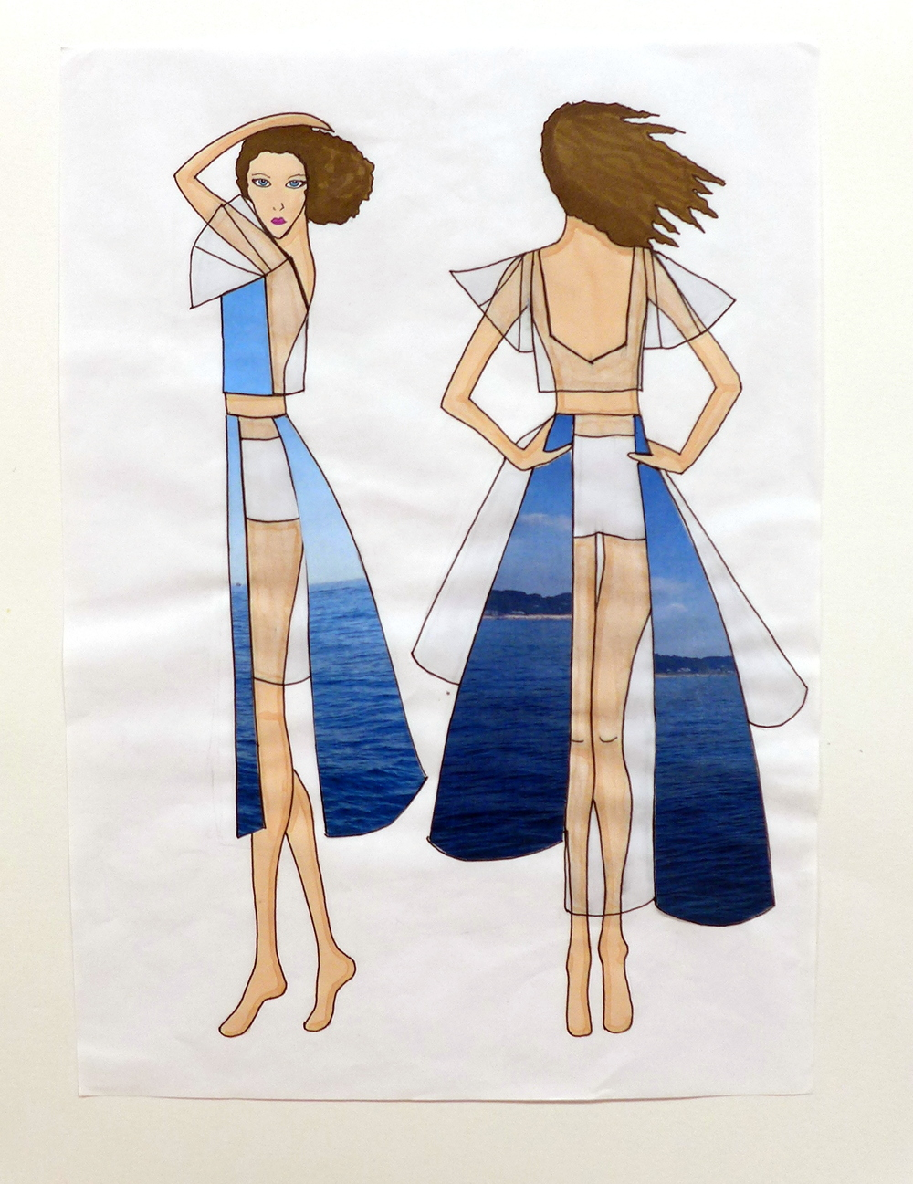 Batwing Top and Skirt side and back Illustration