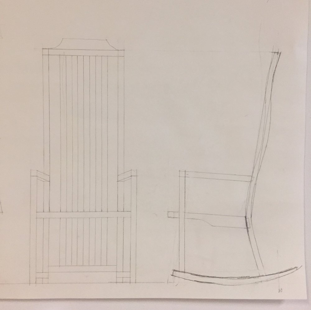 This is a sketch of the chair. The transducer will be attached to the back of the chair.