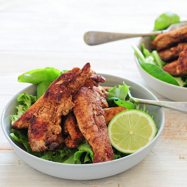 Chicken and salad can be delish if you add spices!  Photo Credit: Jules, License