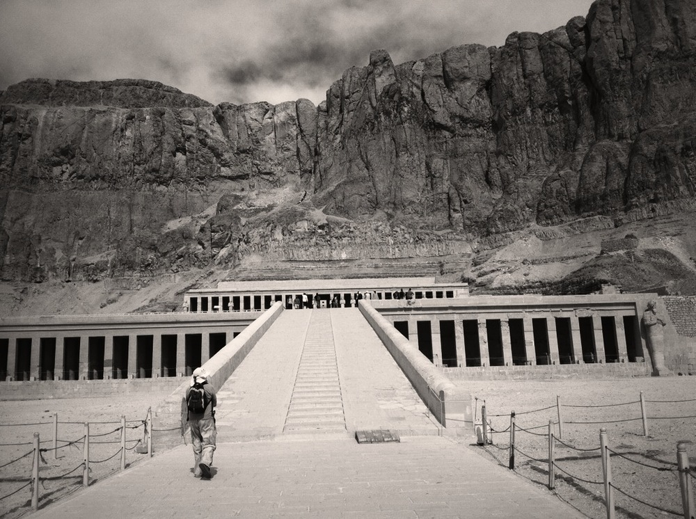 Temple of Hatshepsut, the Valley of the Kings is on the other side of the mountain