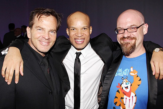 Bengal Tiger   fight choreographer Bobby C. King and blood effects designer Sean McArdle sandwich show star Glenn Davis.