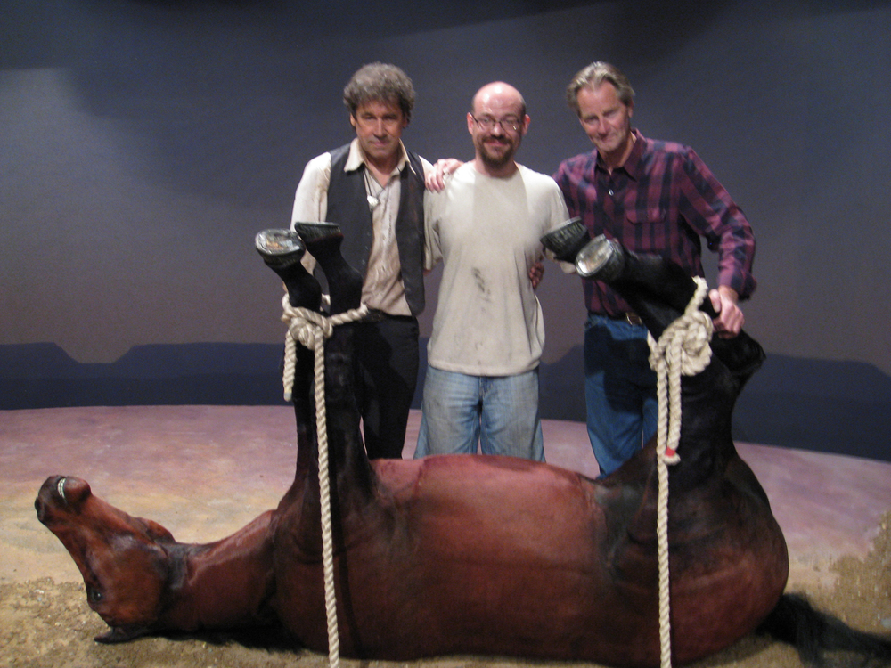 Seán McArdle with Stephen Rea and Sam Shepard on the set of Kicking a Dead Horse, Public Theater, NYC 2008.