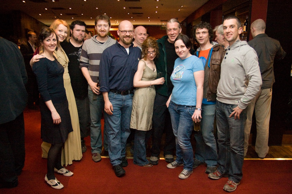 Seán with the tech staff of the Abbey Theatre, opening night of   Ages of the Moon  , Dublin, Ireland, 2011.