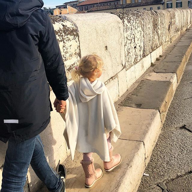 Roman Bridge walk to get a gelato #nevertoocoldforgelato • #italy #rimini #ponteditiberio #gelatohour