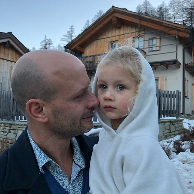 Snow🐰. Its gotten down to -22 degrees!  #daddysarmsalways #toocoldtowalk #alpineair #pragelato #alps #italianalps