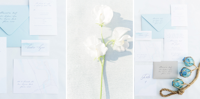 Illustrative photo on contact page showing invitation suite, hand lettering, watercolor paints and flower