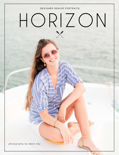 Image of a senior in high school on the side of a boat.  She is wearing sunglasses and nautical fashion.  This leads to the Horizon, by Debra Eby Photography, details magazine.