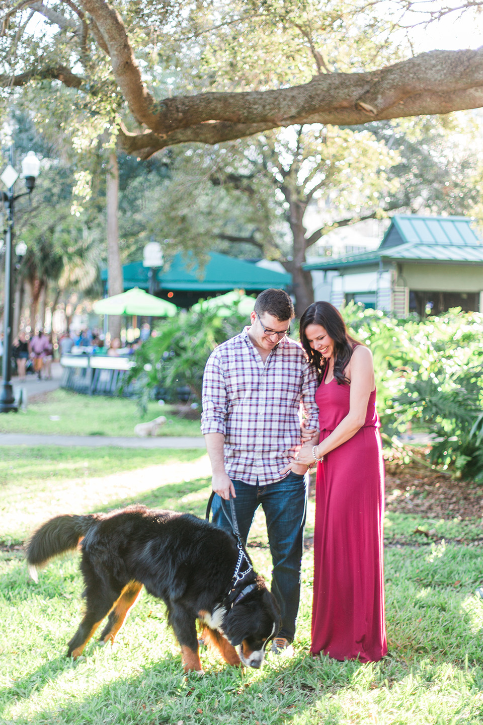 Image of an engaged couple playing with their Bernese Mountain Dog in downtown Orlando, Florida