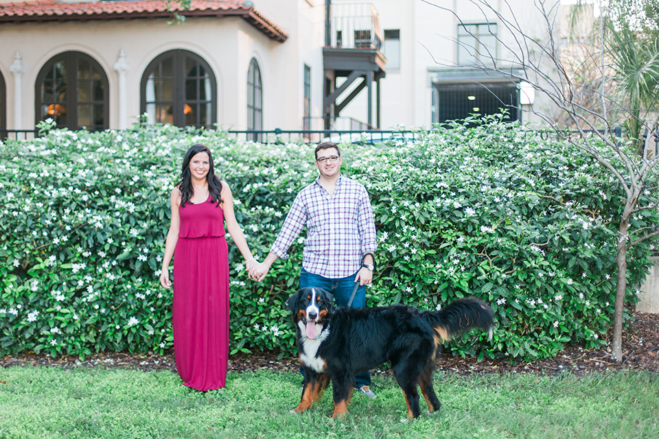 Image of an engaged couple in downtown Orlando, Florida.  The couple is holding hands and standing by their Bernese Mountain dog.