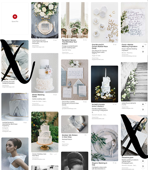 "Picture of a Pinterest board with ""x"" over images to show that the board is being edited."
