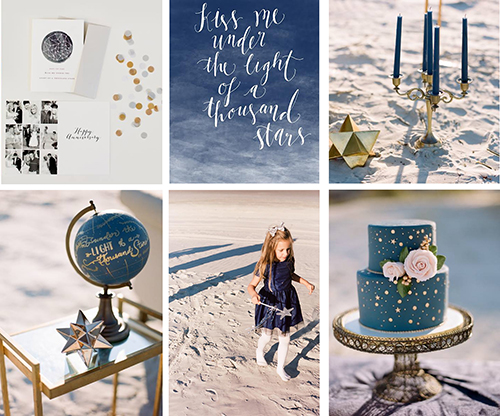 Picture of celestial wedding details.  This is a collage of six images that show a stationary suite, hand lettering, candles, cake, and a globe.