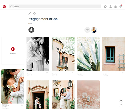 Picture of a Pinterest board about engagement inspiration.  The board has many pictures of an engaged couple as well as Pinewood Estate at Bok Tower.