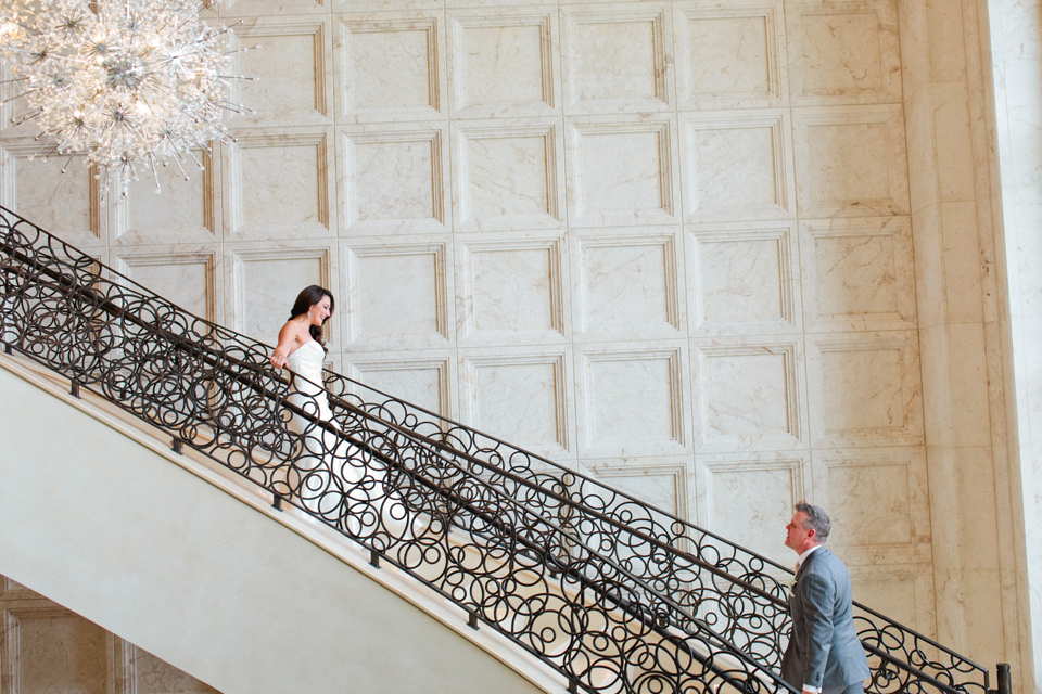 Picture of a bride and groom having a first look on their wedding day at The Four Seasons Walt Disney World Resort in Orlando, Florida | Debra Eby Photography Co.