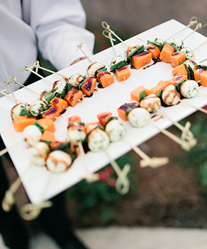 Image of cocktail hour wedding hors d'oeuvre platter at TPC Sawgrass in Ponte Vedra, Florida | Debra Eby Photography Co.