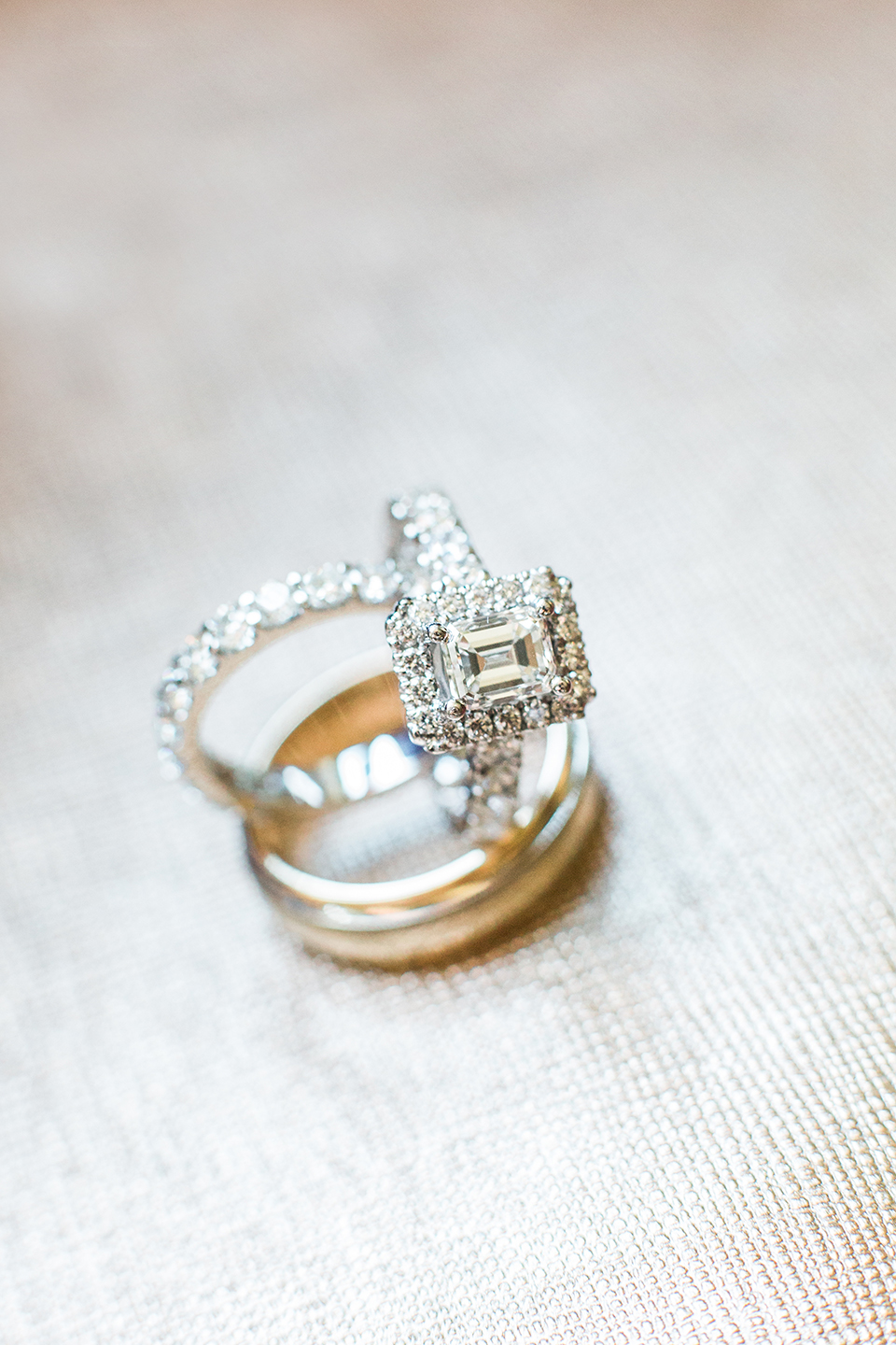 Engagement ring with wedding bands on a wedding day at The Vinoy in St. Pete, Florida | Debra Eby Photography Co.