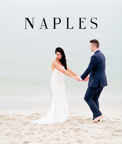 Image of a Naples bride and groom on the beach getting married.