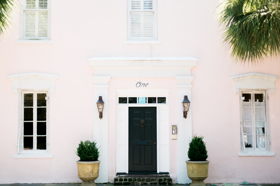 Blush pink house in historic Charleston, South Carolina