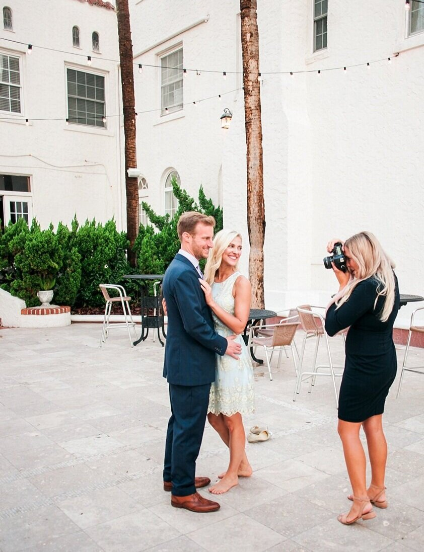 Image of wedding photographer, Debra Eby, capturing a rehearsal dinner in Jacksonville Beach, Florida at Casa Monica.