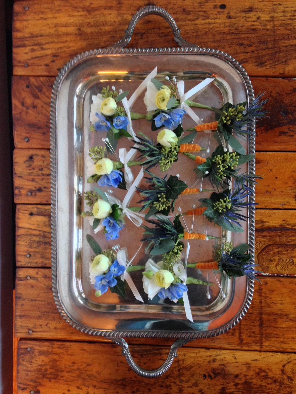 Photo by Catherine G. Damwood LLC, Image of Silver Tray with Pin-On Corsages and Boutonnieres