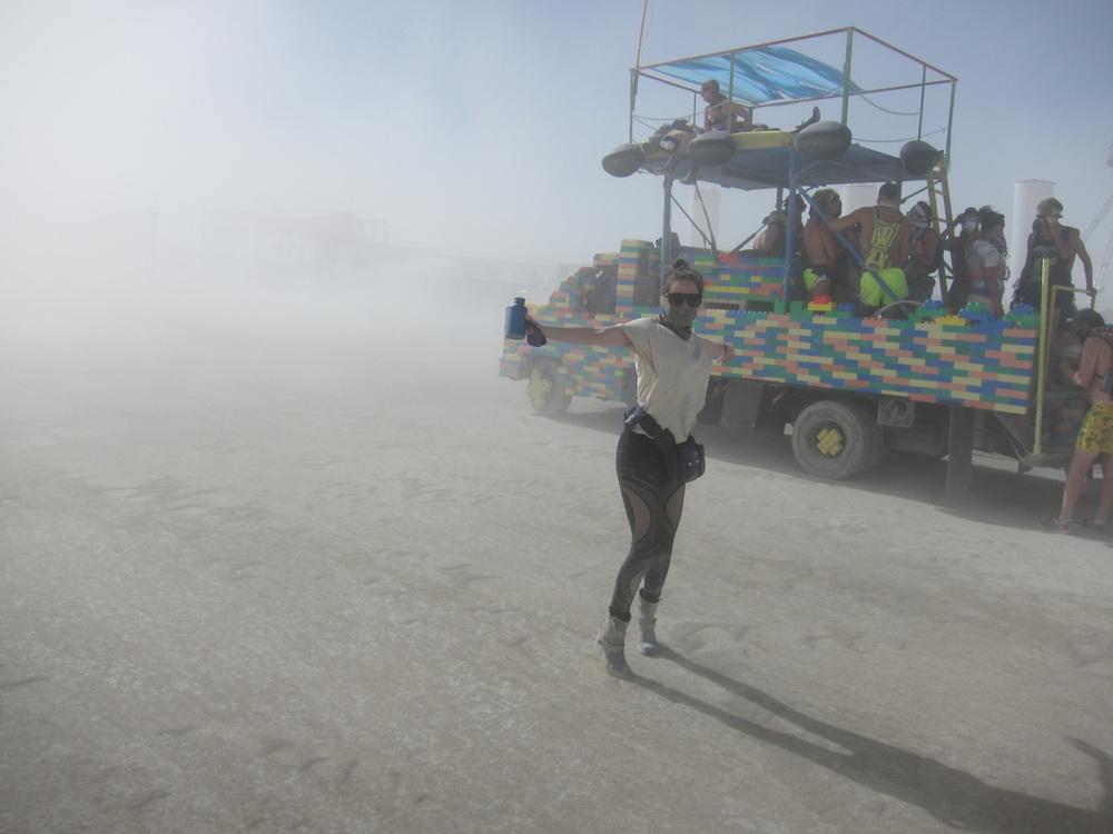 My first dust storm, akin to a religious experience for burners, was on board this fantastic Lego art car