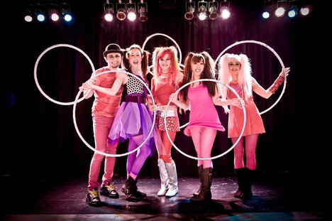 From Left: Tim Spins, Pixie Hularina, Bunny Hoop Star, Shiho, GemStar. Photo by Nick Coppins.