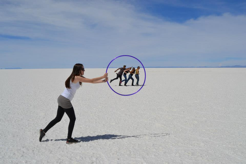 Bolivian Salt flats hula hooping