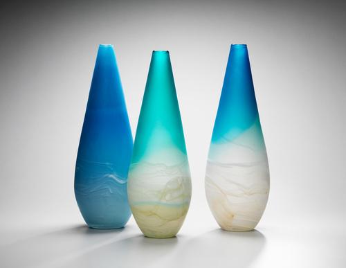 Sand Bar Blue Sky Vase Llewelyn Ash Glass
