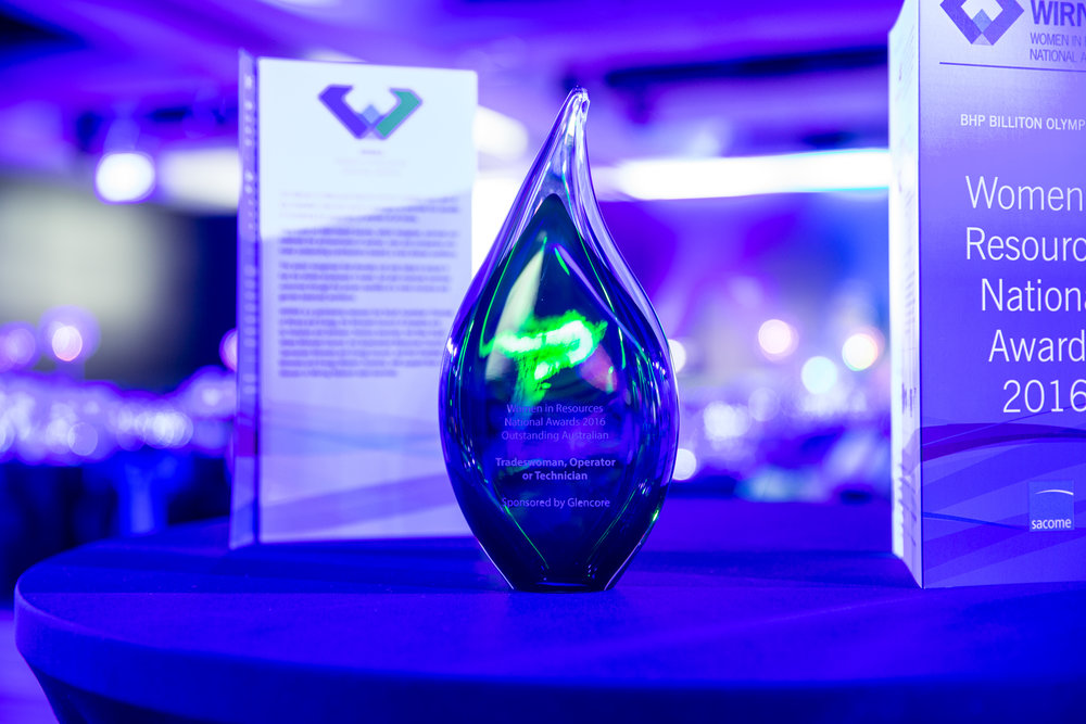 Women in Resources National Awards trophies