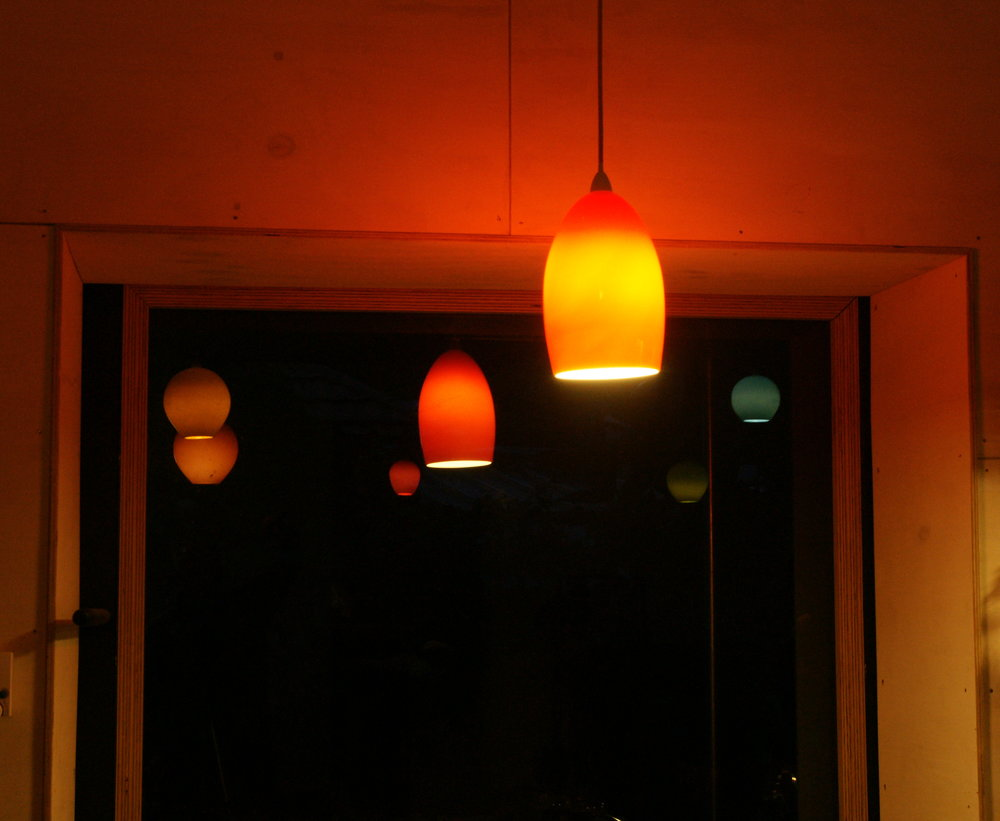 Custom hand blown glass lights