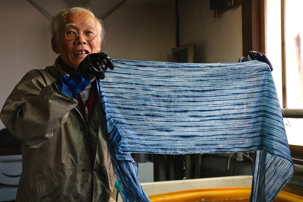 hiroyuki shindo -- long time practicing indigo artist. he has invented his own method of indigo dyeing and has been featured in museums from holland to chicago. an incredibly kind visionary.