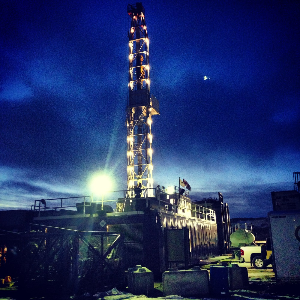 The rig at night.