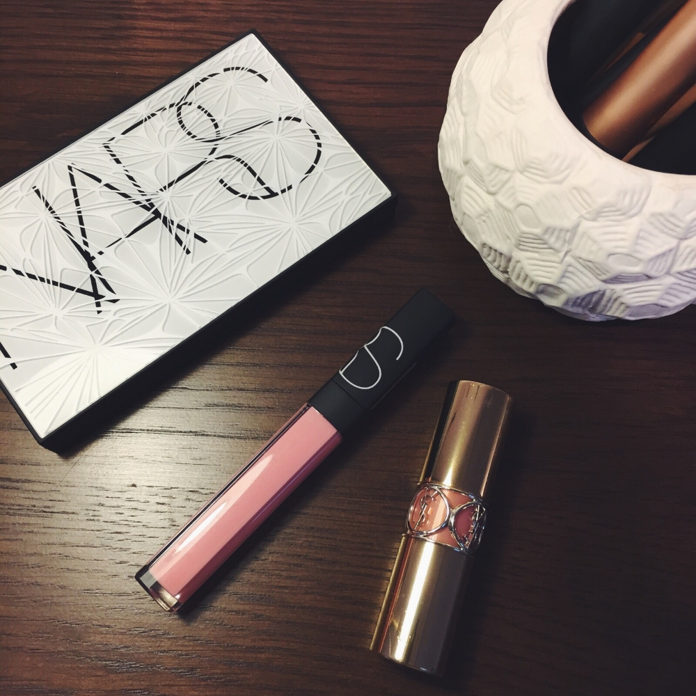 Pictured: Nars Virtual Domination Palette, Nars Turkish Delight Lip Gloss and YSL Rogue Volupte Shine 'Nude in Private'.