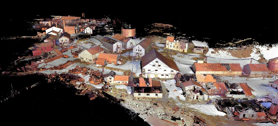 An image of Leith Harbour Whaling Station created from laser-scanning data collected by Geometria