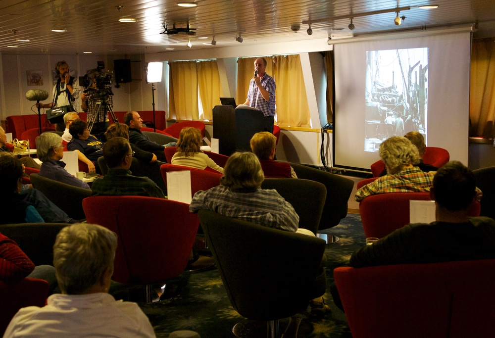 We volunteered our ever-game presenter Adam Nicolson to give a lecture to the cruise passengers...