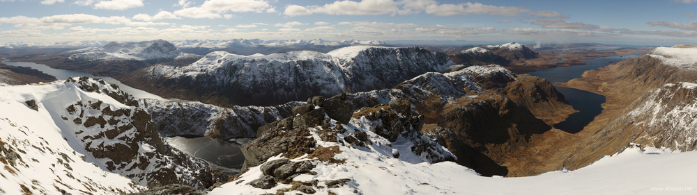 The view south from A'Mhaighdean. Canon 5D III, 17-40mm, handheld, 8 images stitched in Autopano Pro