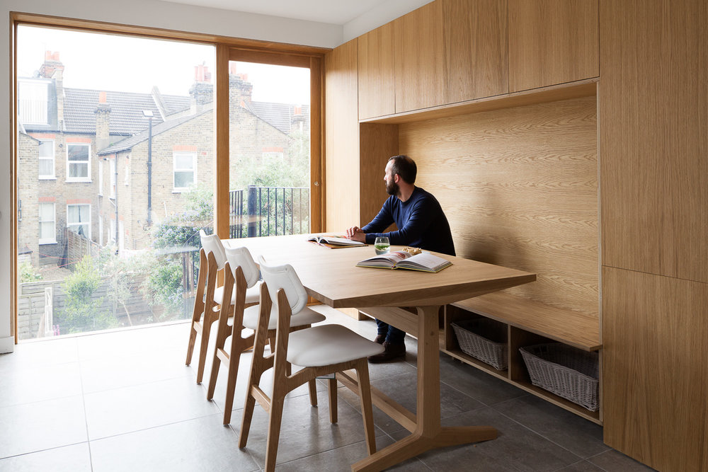 Clever joinery to elegantly squeeze a lot into a small kitchen-diner www.turnerarchitects.co.uk/work#/sw17