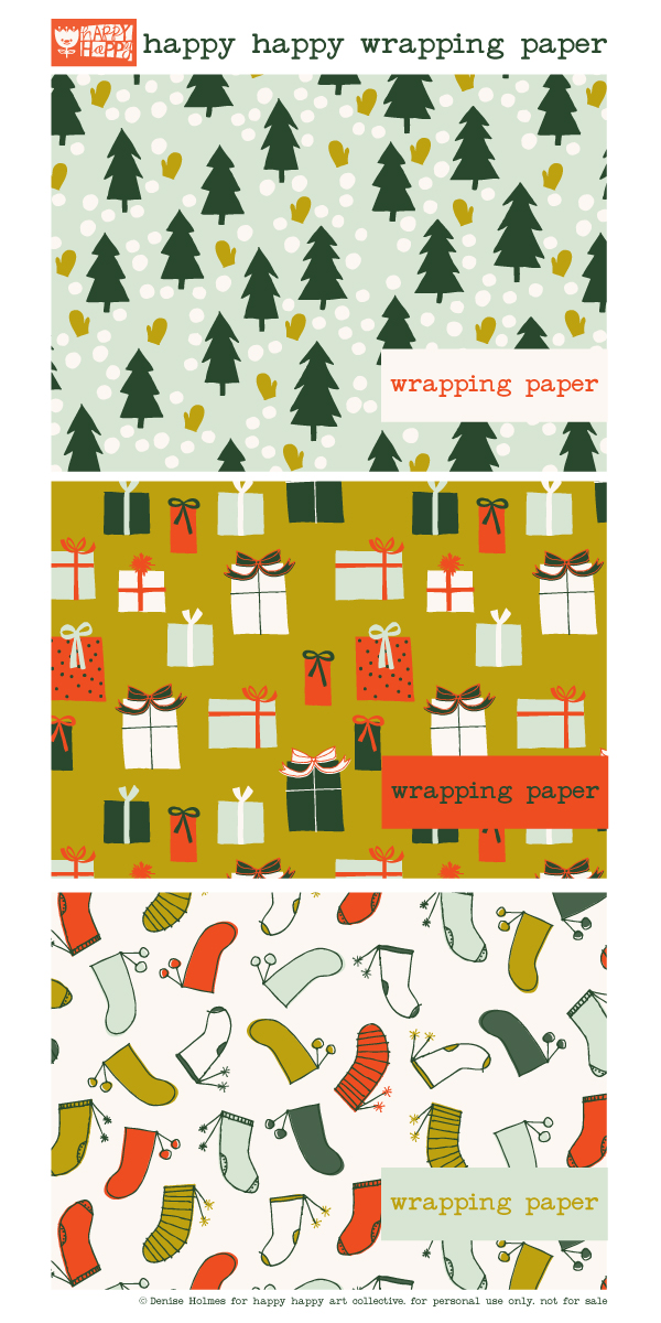 happy happy wrapping paper_ denise holmes