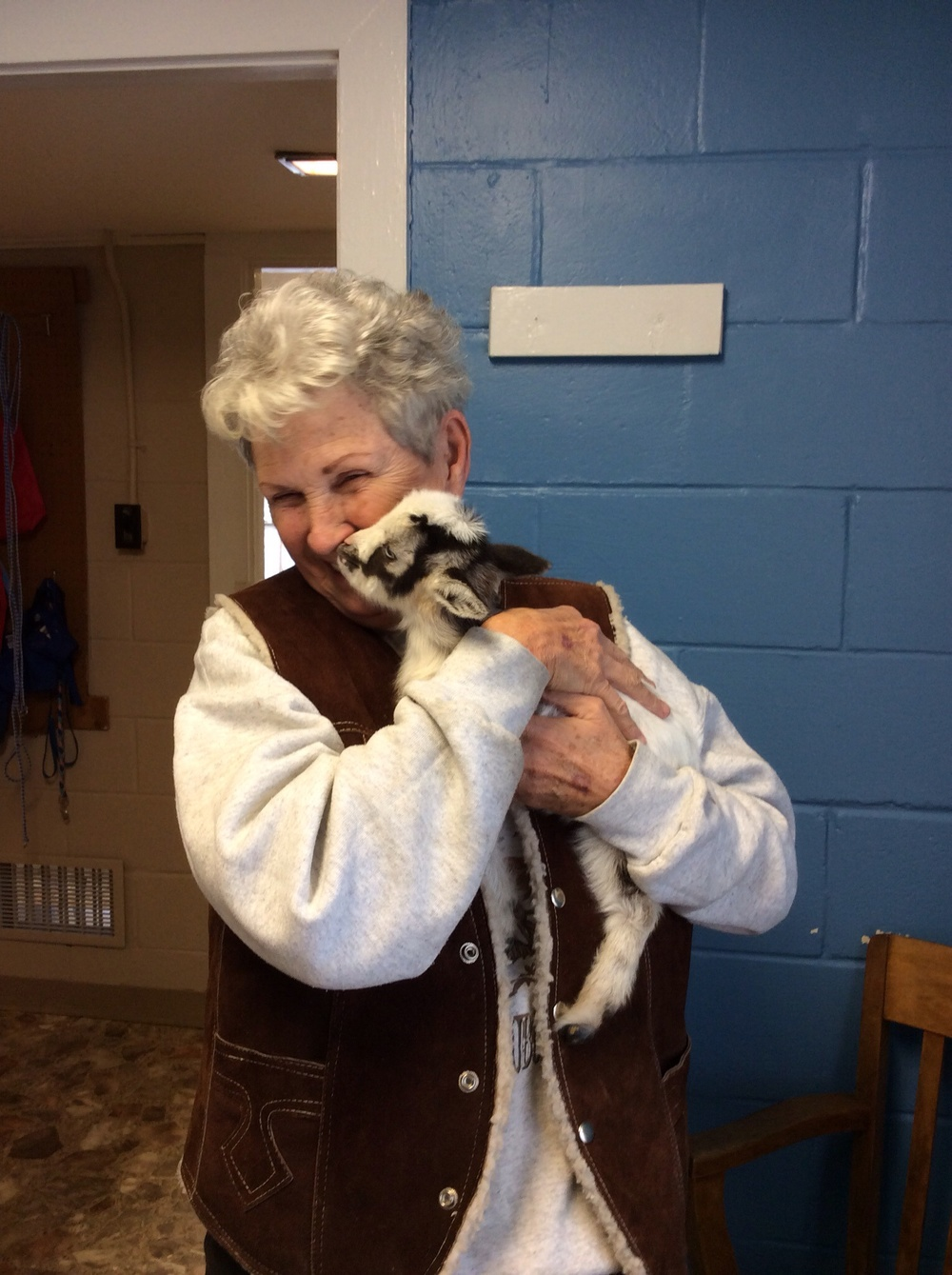 Mrs Bonnie and her new goat kid