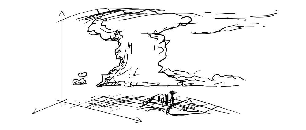 Perspective sketch of a cumulonimbus storm cloud above a city.