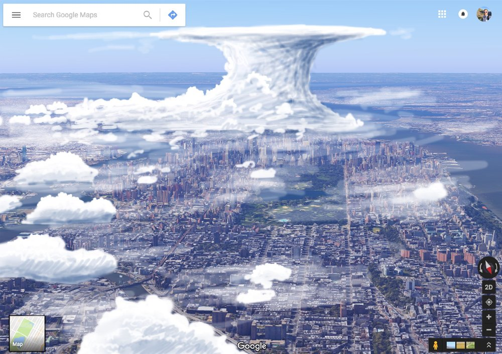 Mockup of 3D cloud imagery over manhattan island.