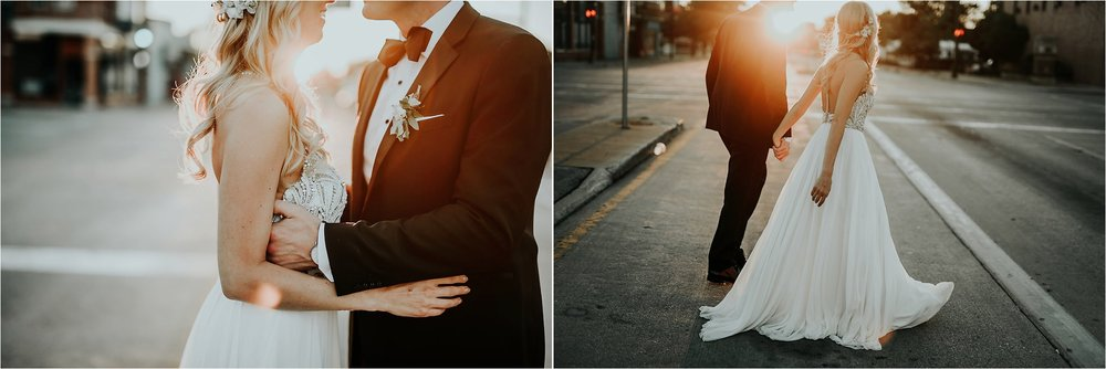 sunset bride and groom wedding photos