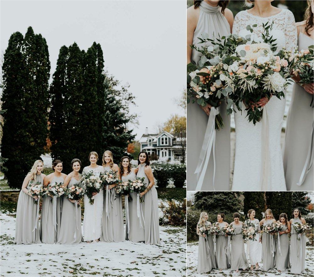 winter bride bridesmaids flowers