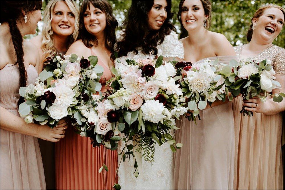mismatched bridesmaids dresses wisconsin wedding photographer