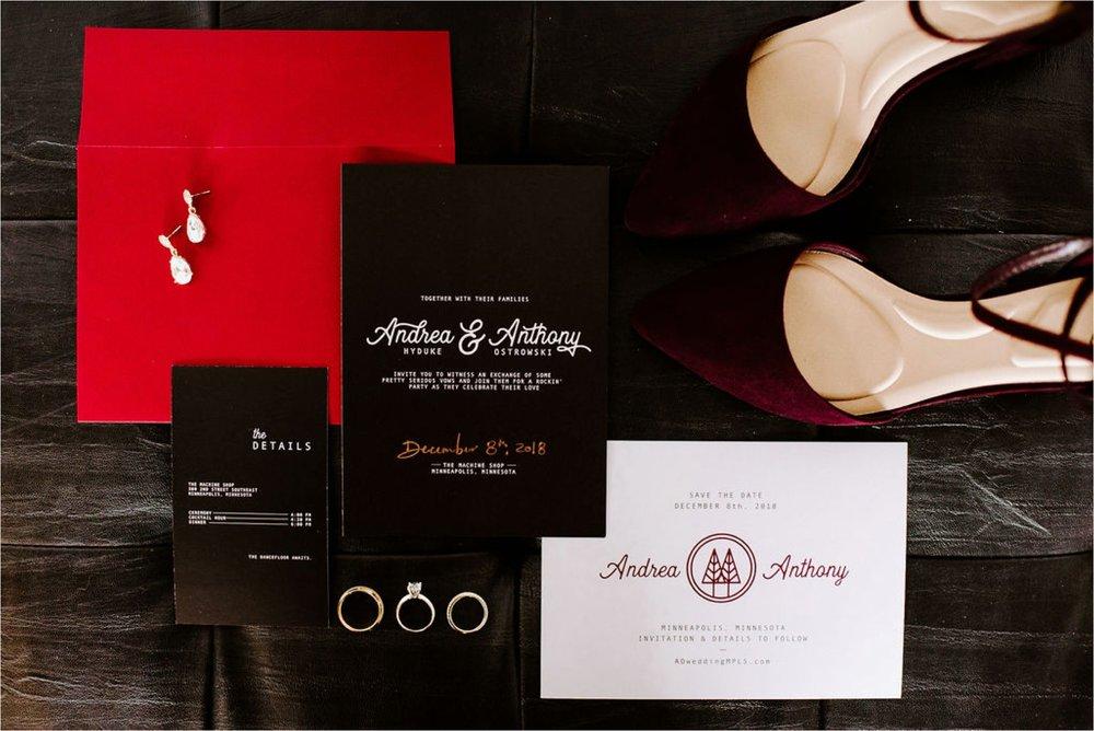 december machine shop minneapolis wedding invitation designer brynna nicole