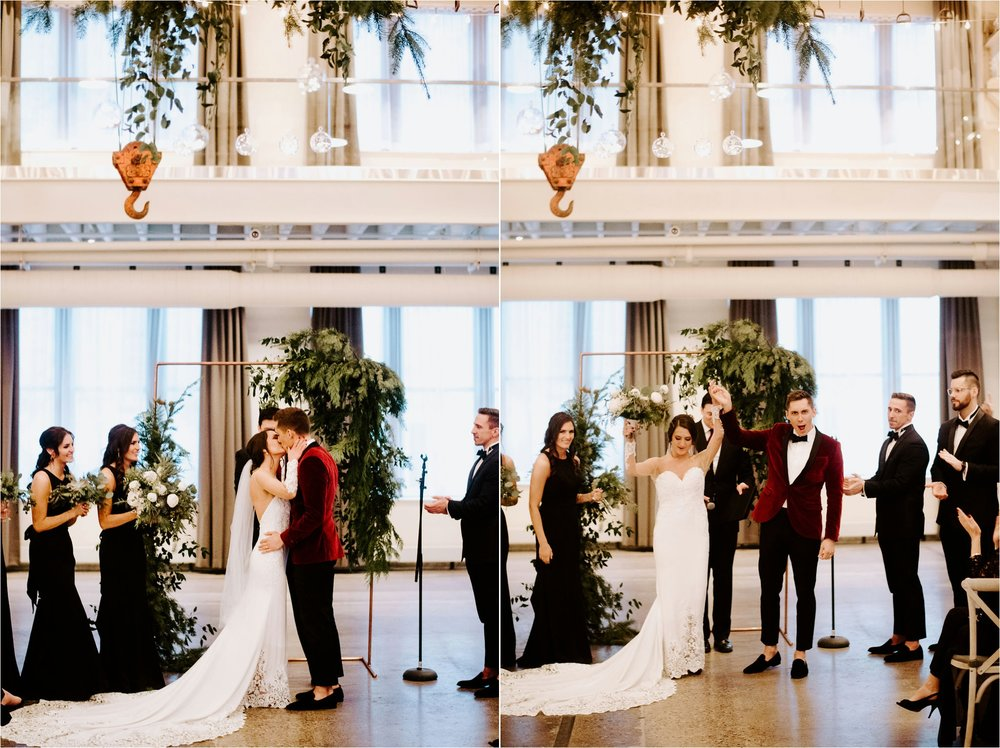 machine shop minneapolis december winter wedding ceremony